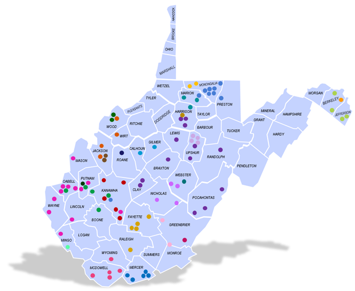 Map of WVPBRN sites across West Virginia