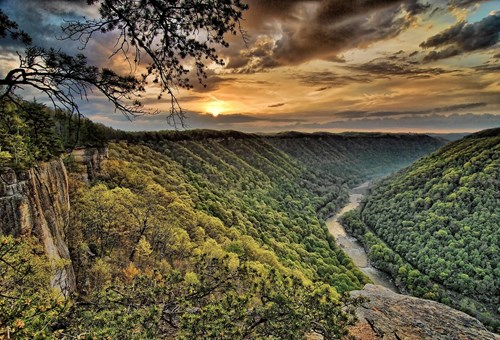 Photo overlooking rolling hills of West Virginia at Sunset
